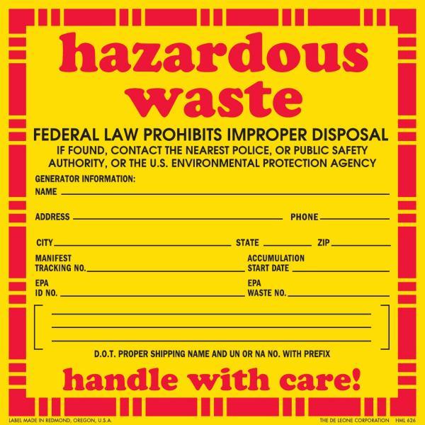 6' X 6' Hazardous Warning Labels, Vinyl