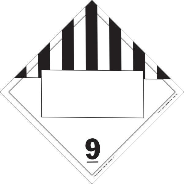 10 3/4' x 10 3/4' Class 9 D O T  4-Digit Placard Blank, Vinyl